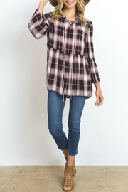 Doe & Rae Plaid Lace-Up Top - Product Mini Image