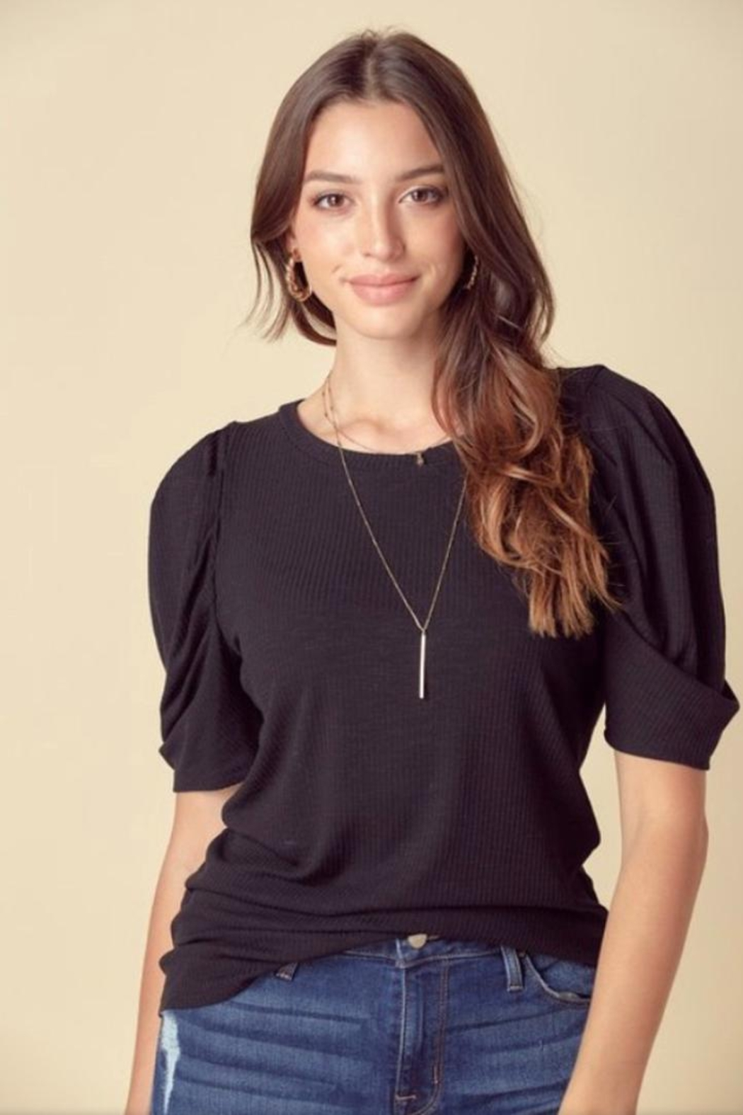 Doe & Rae Puff Sleeve Top - Front Cropped Image