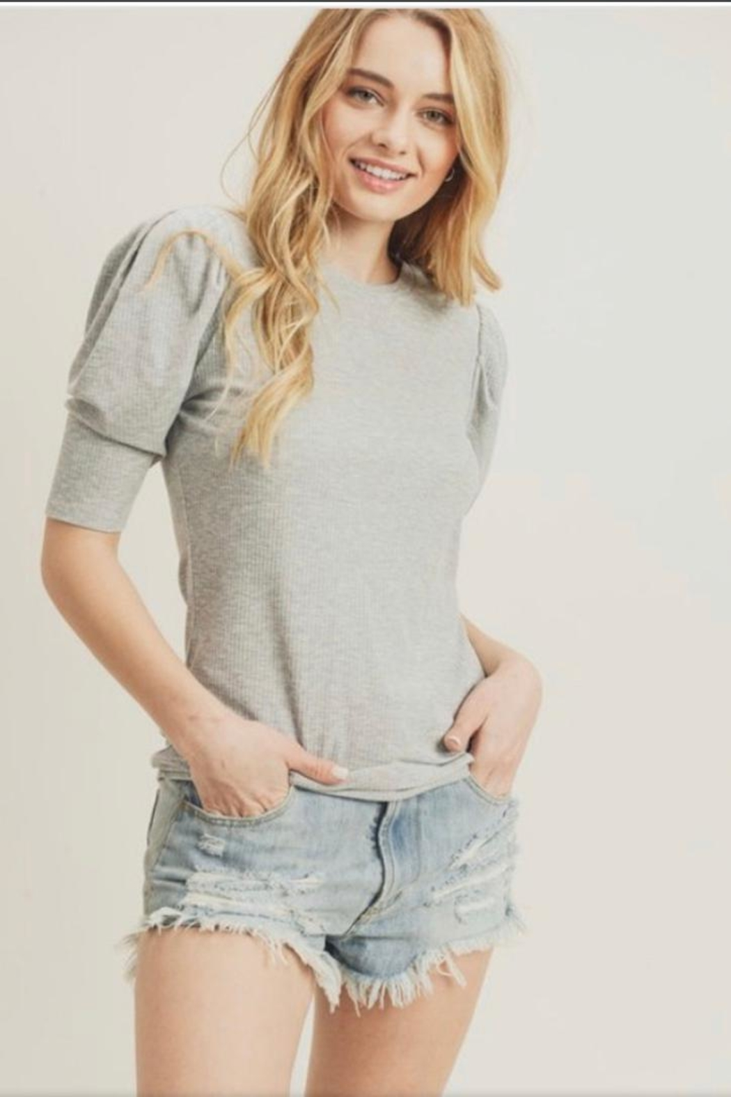 Doe & Rae Puffy Sleeve Top - Front Cropped Image