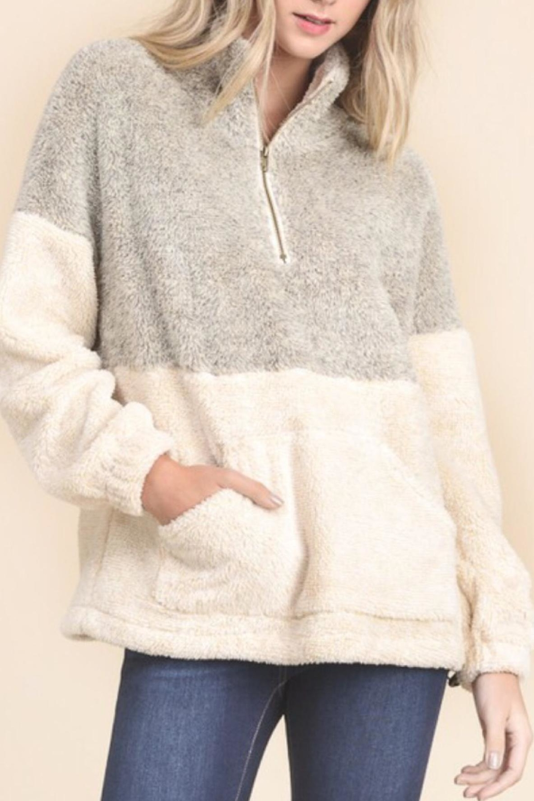 Doe & Rae Pull Zip Sweater - Front Full Image