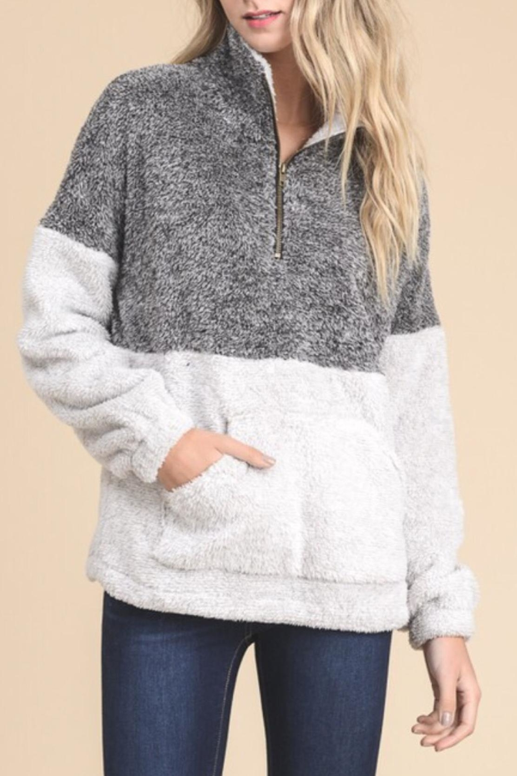 Doe & Rae Pull Zip Sweater - Front Cropped Image