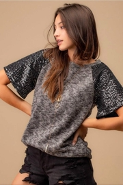 Doe & Rae Sequin Sleeve Top - Product Mini Image