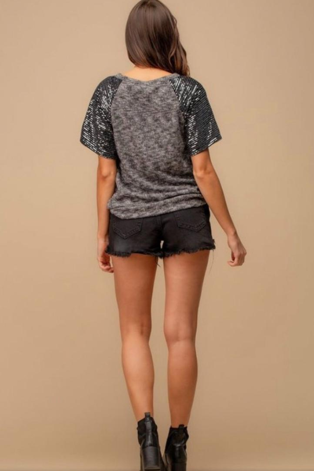 Doe & Rae Sequin Sleeve Top - Front Full Image