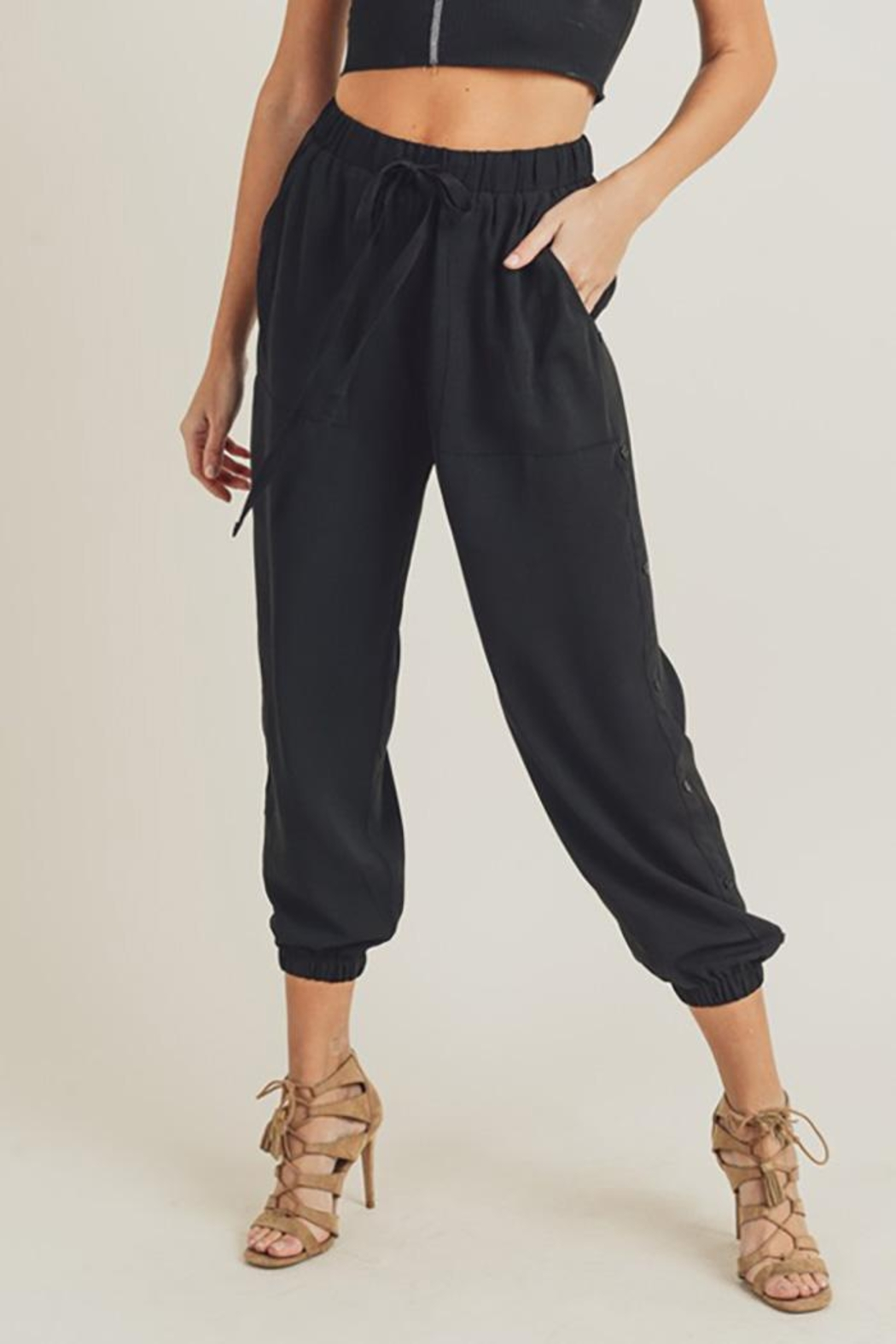 Doe & Rae Side Button Detail Leisure Pants - Front Cropped Image