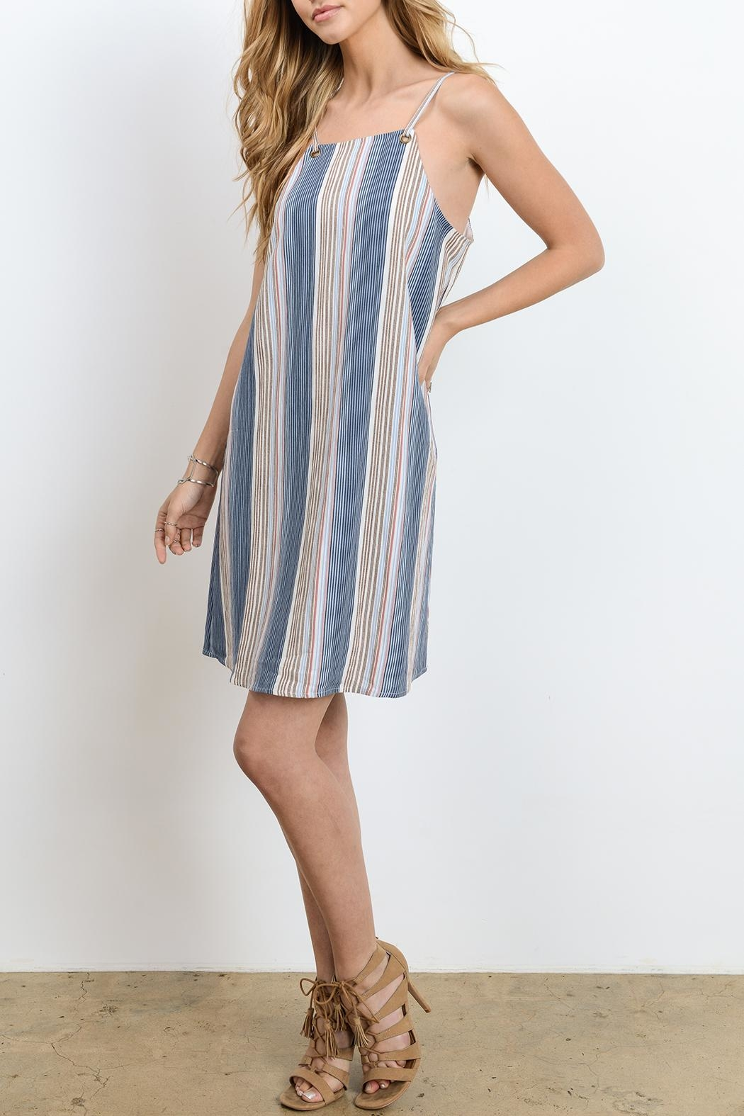 Doe & Rae Strappy Stripe Dress - Side Cropped Image