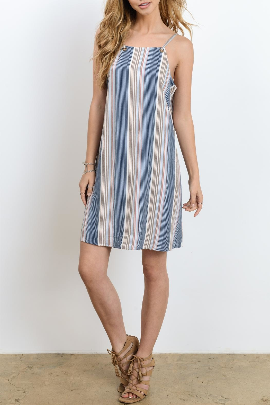 Doe & Rae Strappy Stripe Dress - Front Cropped Image