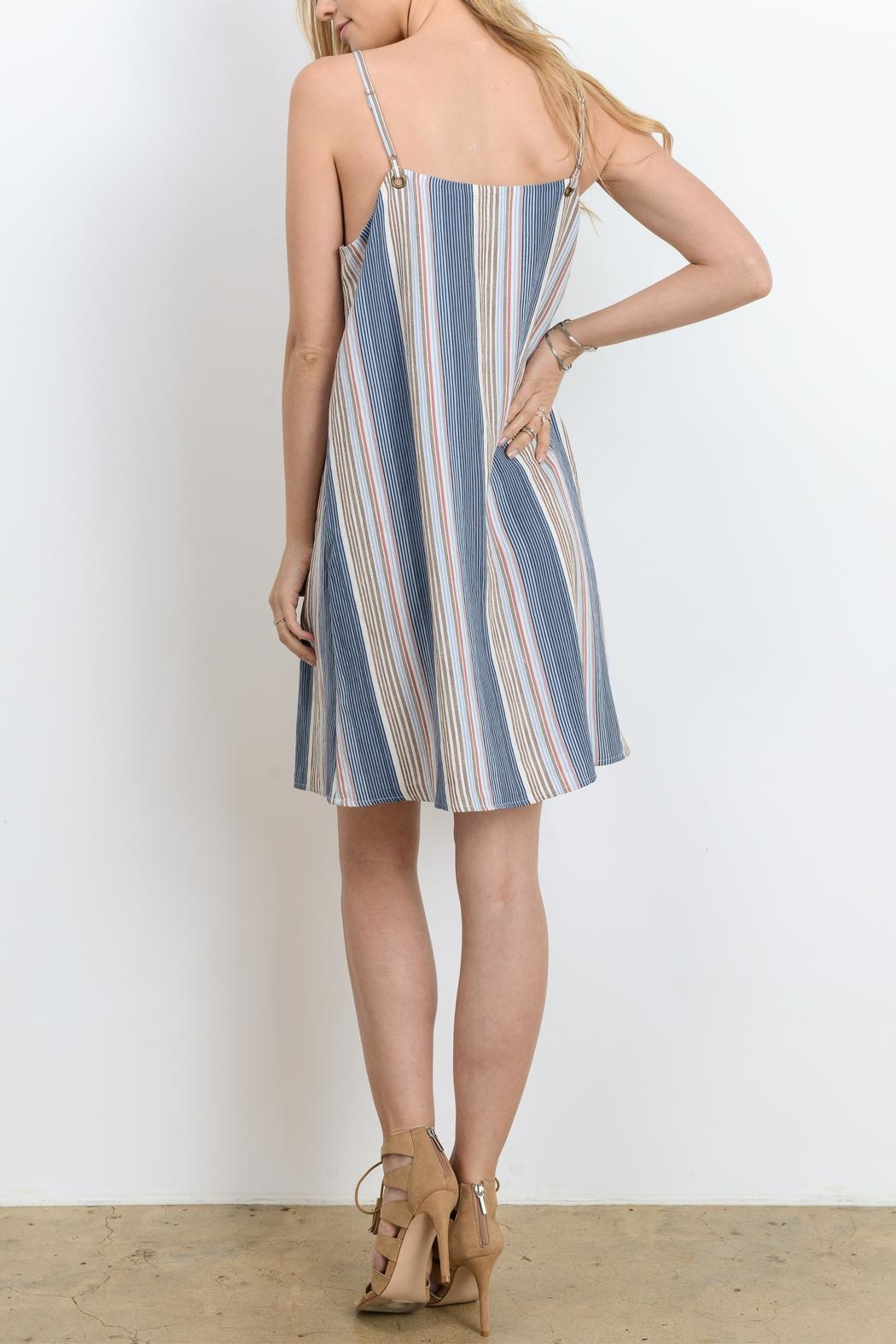 Doe & Rae Strappy Stripe Dress - Front Full Image