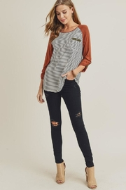 Doe & Rae Striped Raglan Shirt - Product Mini Image