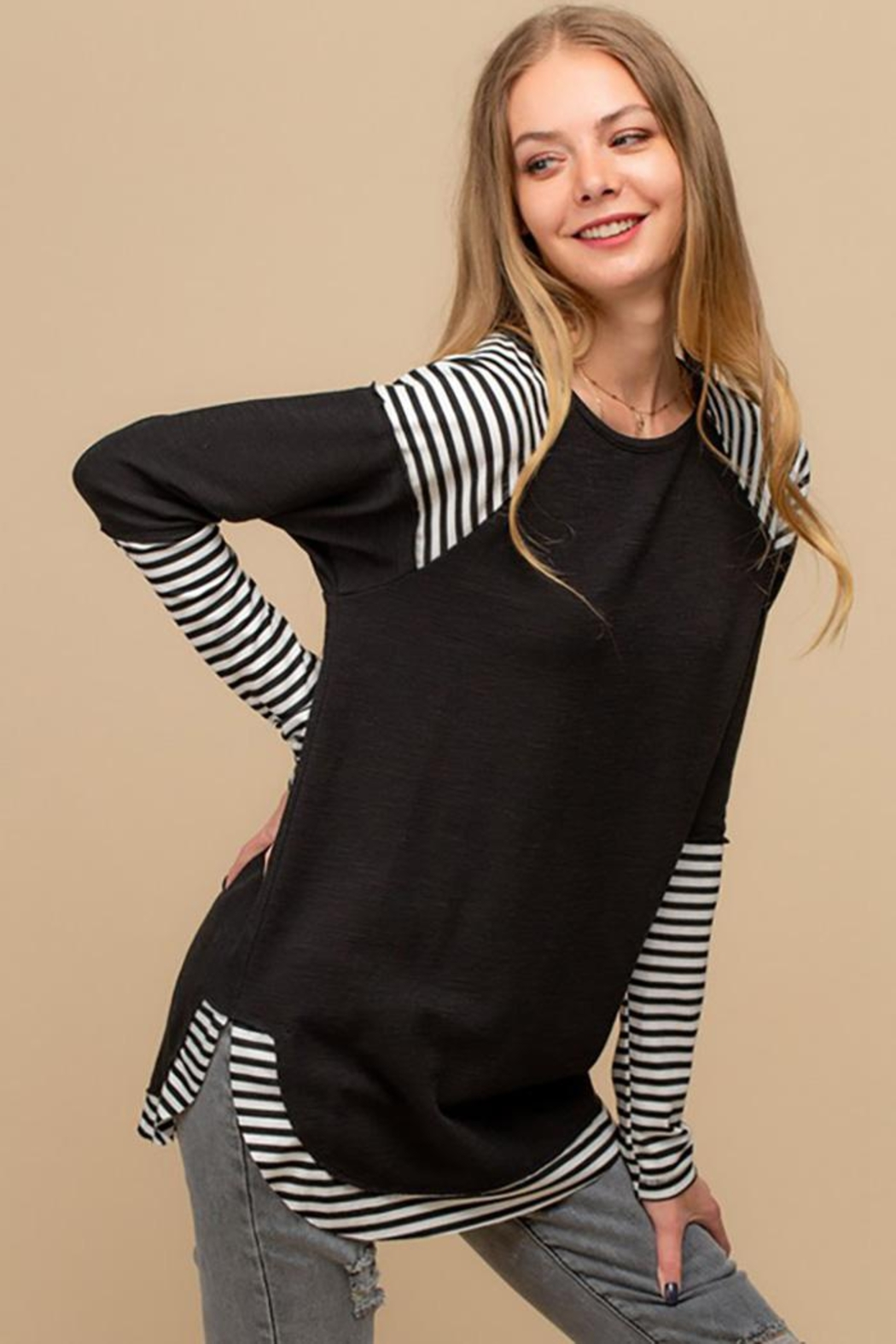 Doe & Rae Striped Sublimation Raglan Top - Main Image