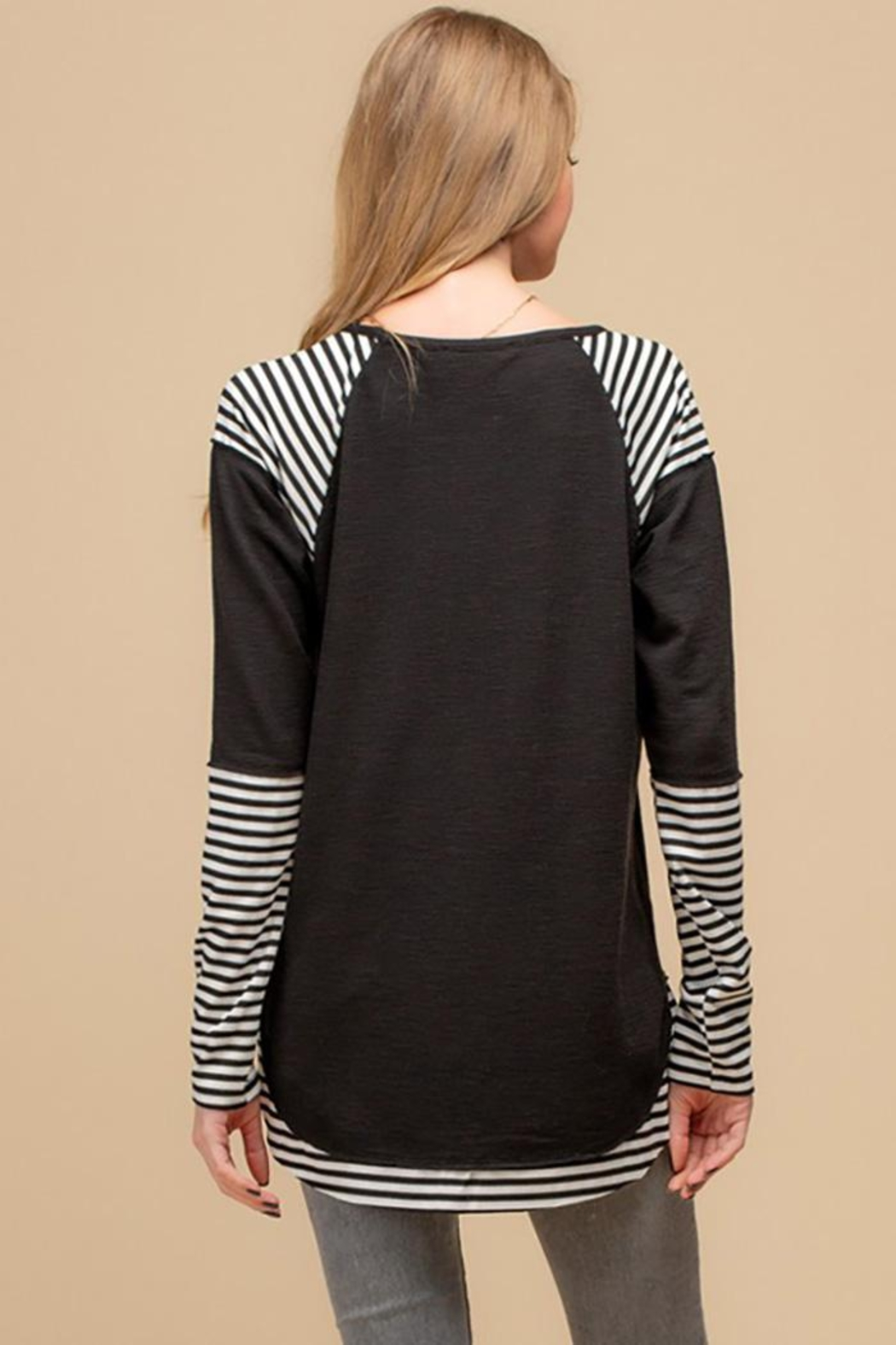 Doe & Rae Striped Sublimation Raglan Top - Front Full Image