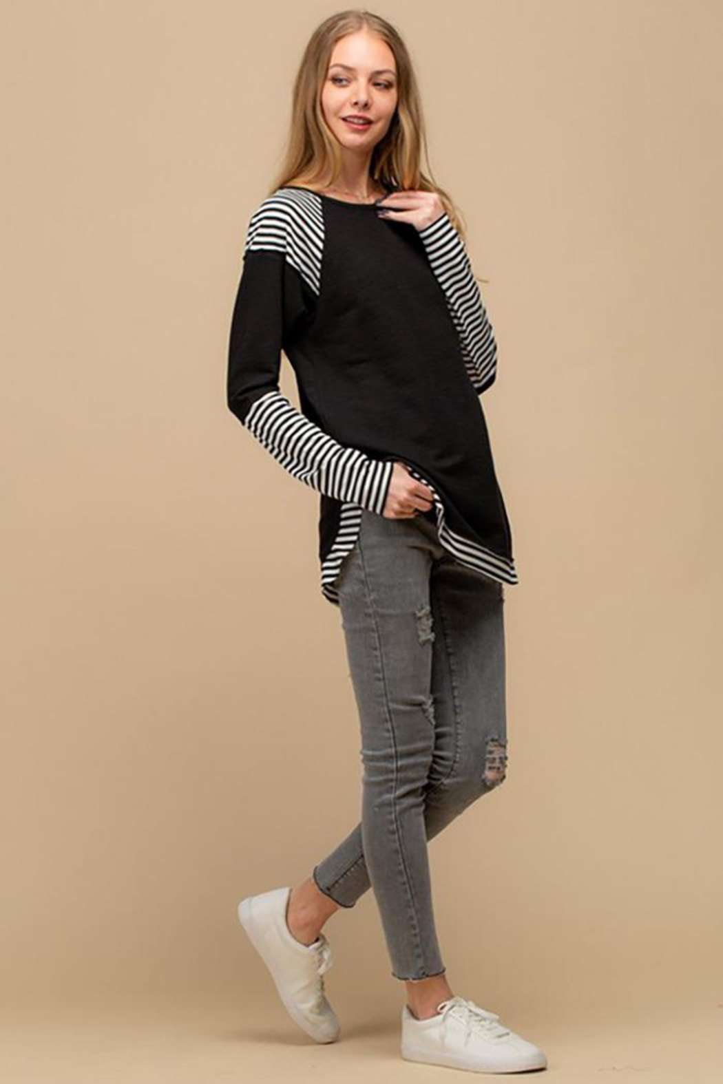 Doe & Rae Striped Sublimation Raglan Top - Back Cropped Image