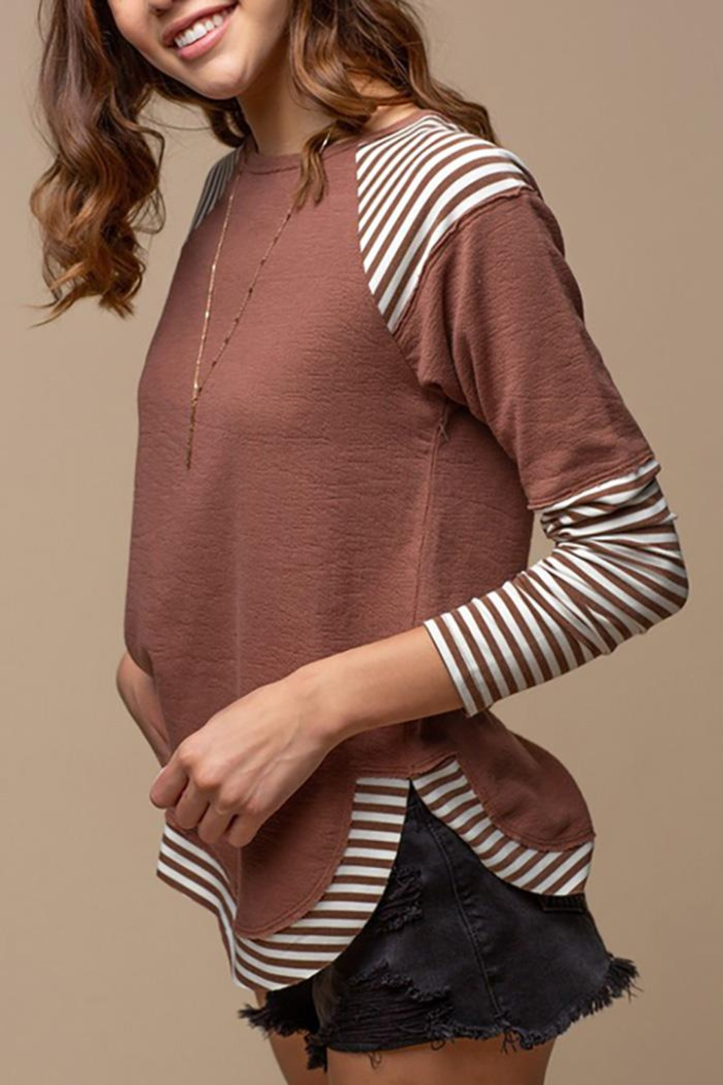 Doe & Rae Striped Sublimation Raglan Top - Front Cropped Image