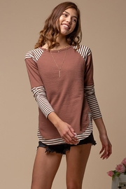 Doe & Rae Striped Sublimation Raglan Top - Other