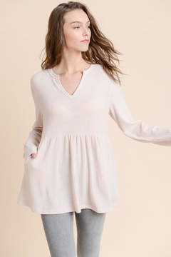 Doe & Rae Textured Babydoll Top - Product List Image