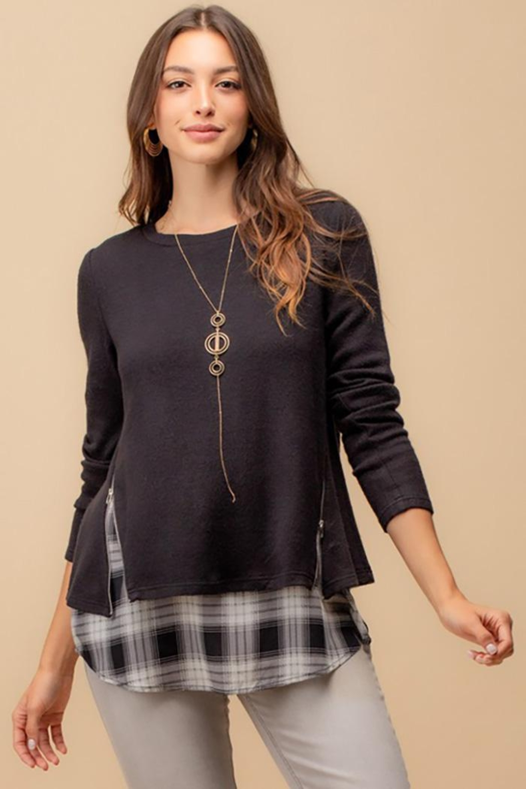 Doe & Rae Two Fer Top With Woven Underlay And Zipper Detail - Front Cropped Image