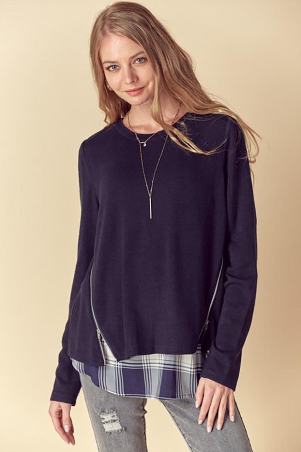 Doe & Rae Two Fer Top With Woven Underlay And Zipper Detail - Main Image