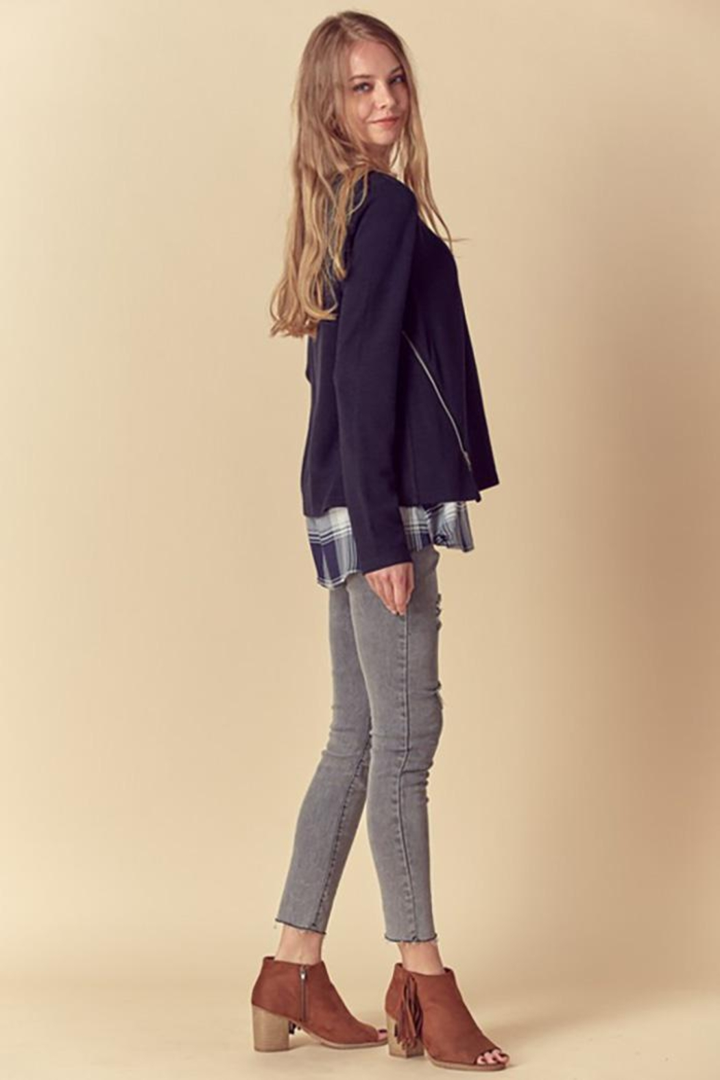 Doe & Rae Two Fer Top With Woven Underlay And Zipper Detail - Back Cropped Image