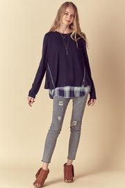 Doe & Rae Two Fer Top With Woven Underlay And Zipper Detail - Side cropped