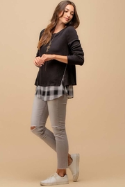 Doe & Rae Two Fer Top With Woven Underlay And Zipper Detail - Other