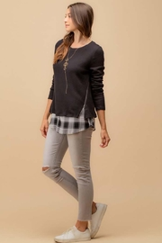 Doe & Rae Two Fer Top With Woven Underlay And Zipper Detail - Back cropped