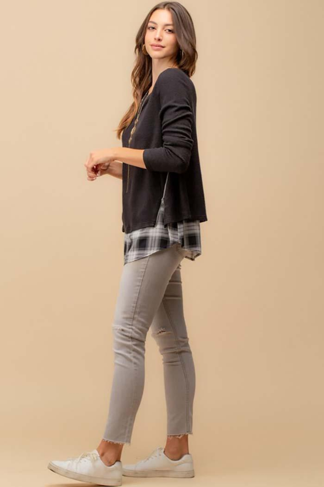 Doe & Rae Two Fer Top With Woven Underlay And Zipper Detail - Side Cropped Image