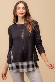 Doe & Rae Two Fer Top With Woven Underlay And Zipper Detail - Front cropped