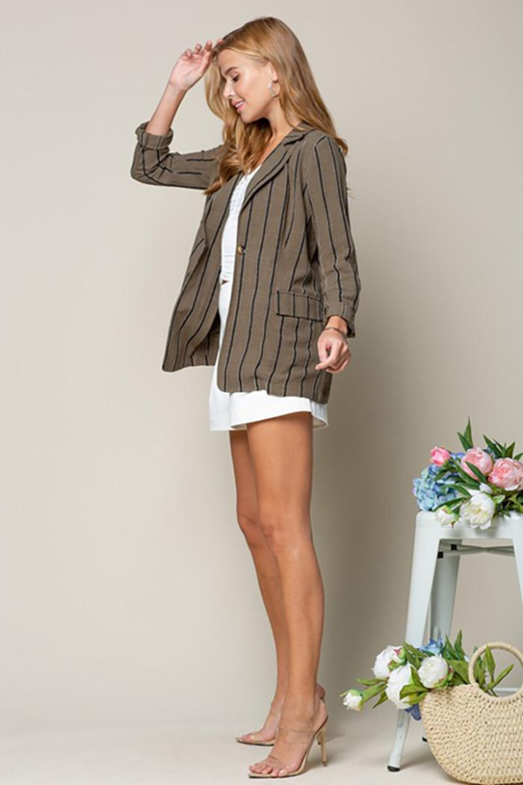 Doe & Rae Women's Open Front Striped Blazer Roll Up Sleeves - Back Cropped Image