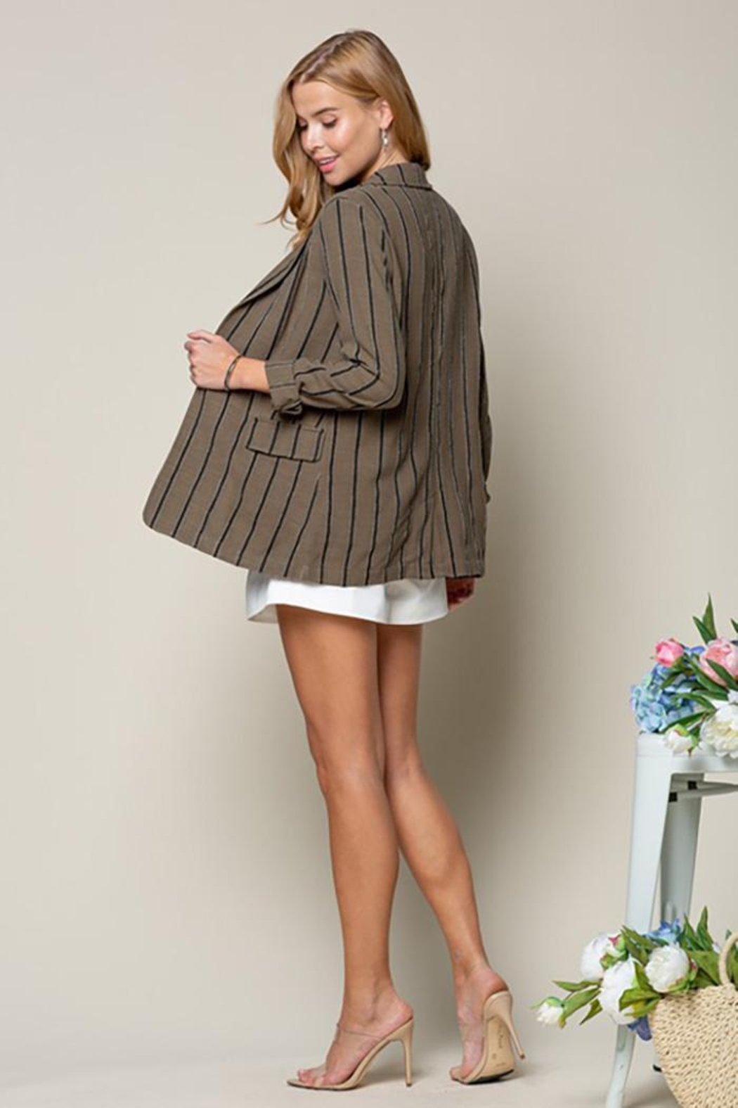 Doe & Rae Women's Open Front Striped Blazer Roll Up Sleeves - Front Full Image