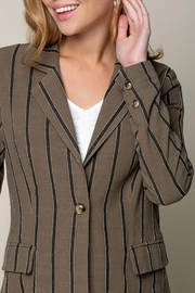 Doe & Rae Women's Open Front Striped Blazer Roll Up Sleeves - Other