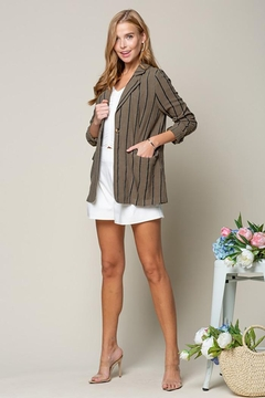 Doe & Rae Women's Open Front Striped Blazer Roll Up Sleeves - Product List Image