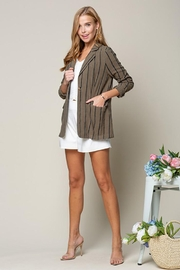 Doe & Rae Women's Open Front Striped Blazer Roll Up Sleeves - Product Mini Image