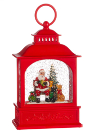 RAZ Imports Dogs Visiting Santa Lighted Water Lantern 8.5