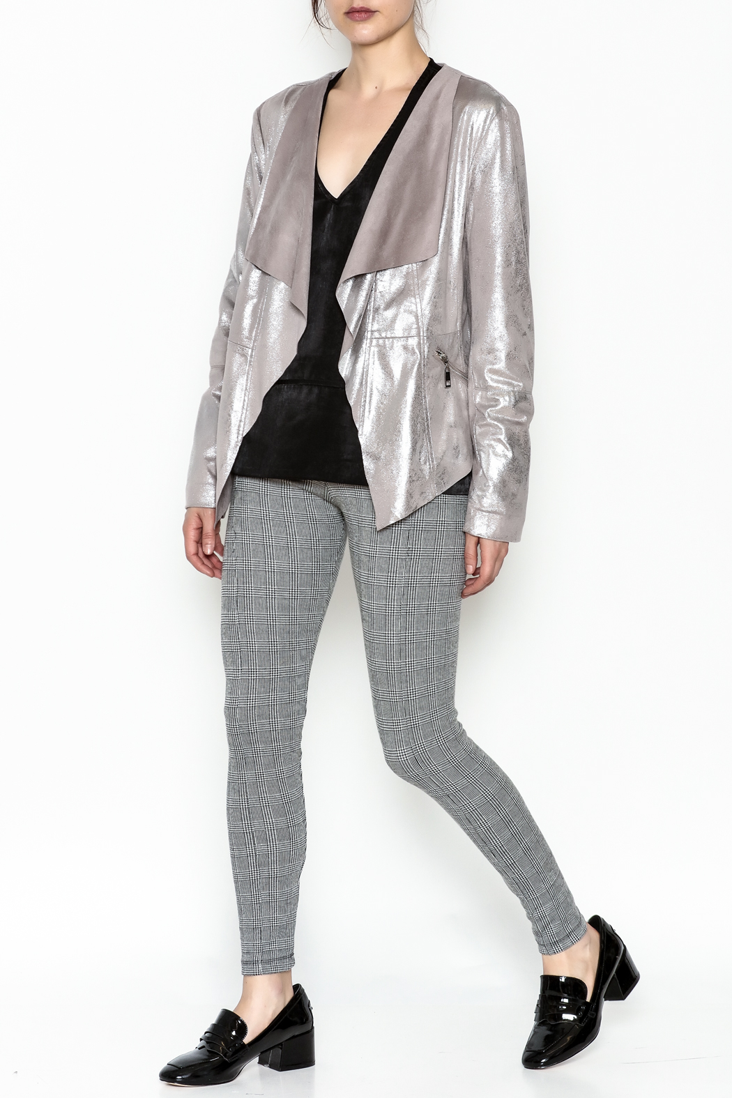 Dolce Cabo Metallic Leather Jacket - Side Cropped Image