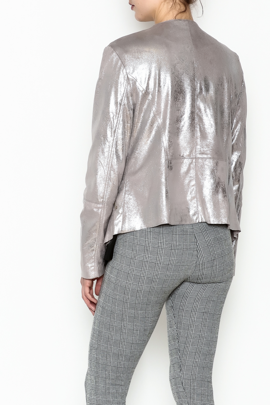 Dolce Cabo Metallic Leather Jacket - Back Cropped Image