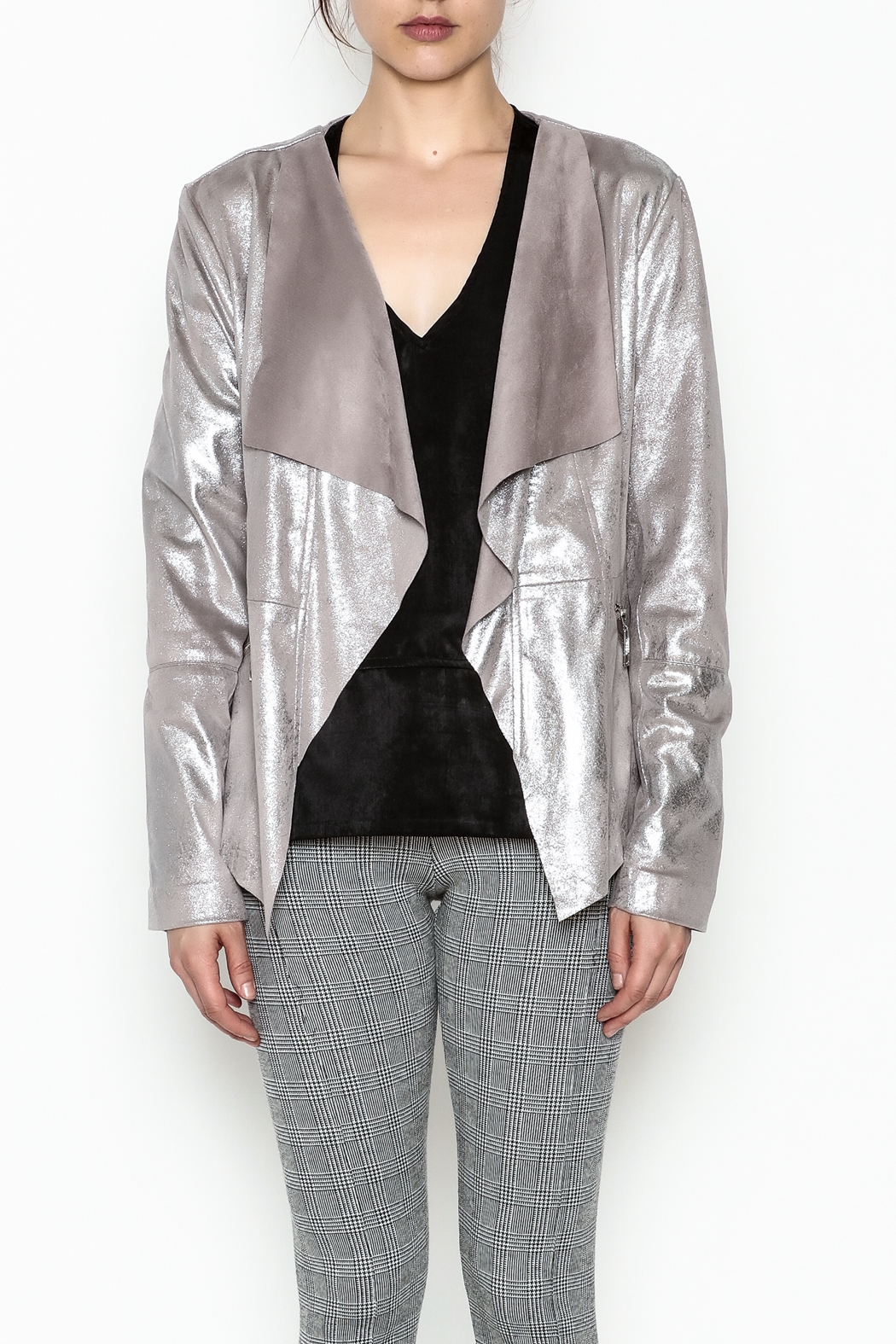 Dolce Cabo Metallic Leather Jacket - Front Full Image