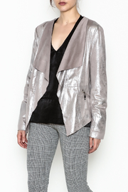 Dolce Cabo Metallic Leather Jacket - Front cropped