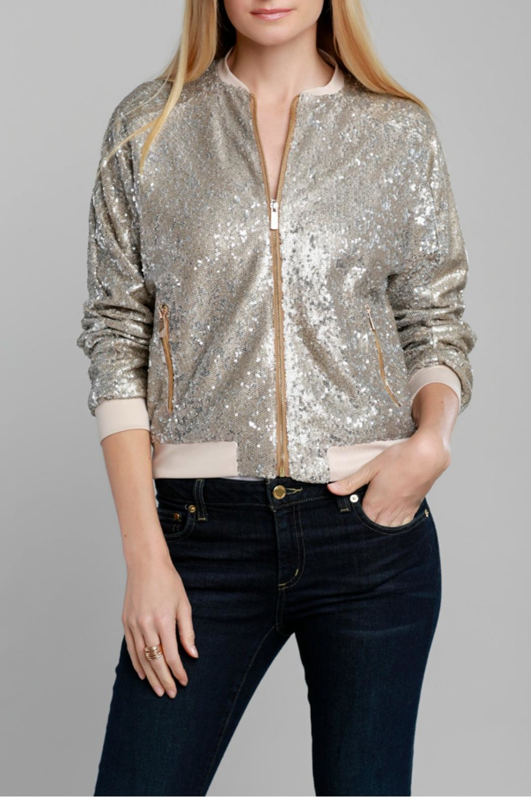 Dolce Cabo Gold Sequin Bomber - Main Image