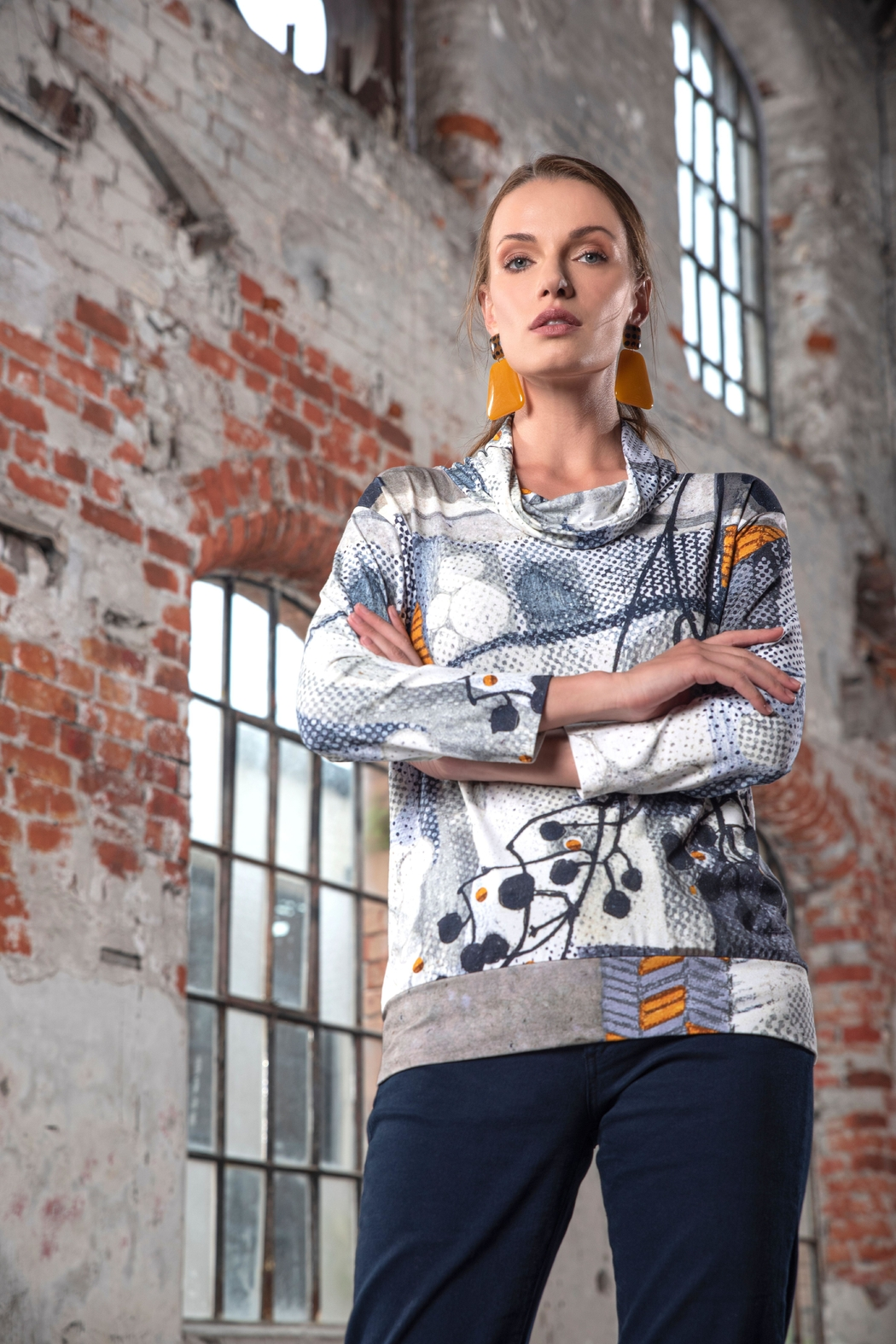 Dolcezza Abstract Jersey Top - Main Image