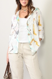 Dolcezza Abstract Water Color Linen Cardigan - Product Mini Image