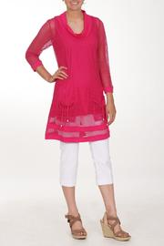 Dolcezza Pink Mesh Tunic - Front cropped