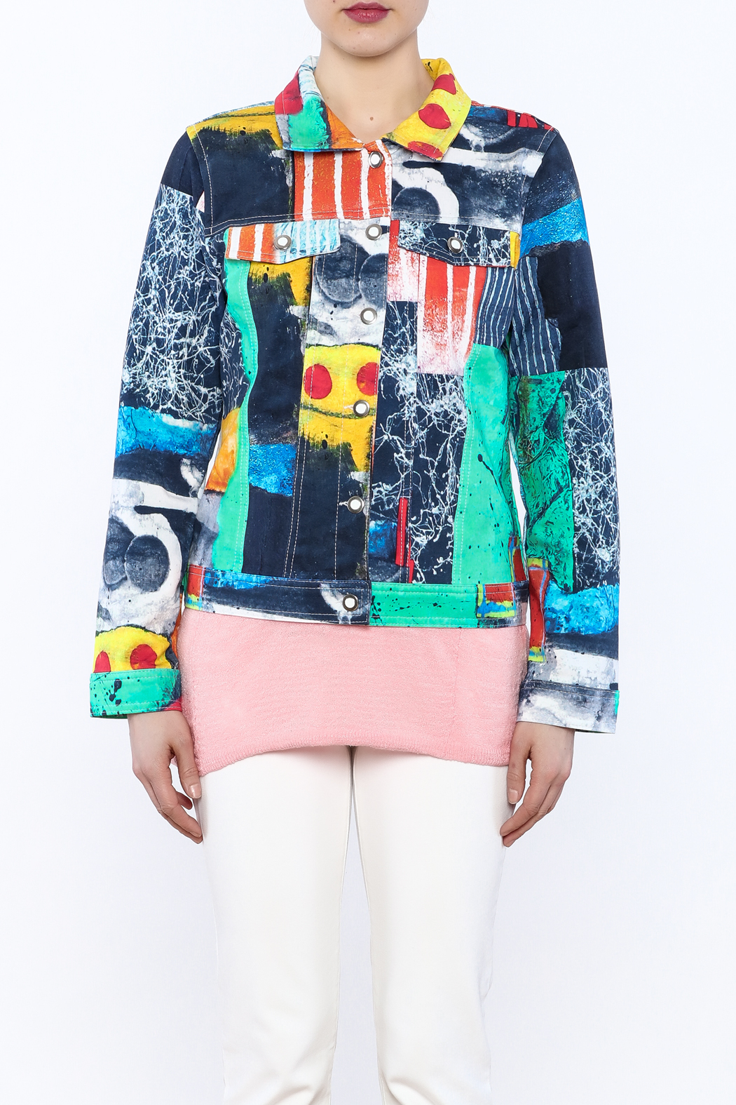 Dolcezza Print Jean Jacket - Side Cropped Image
