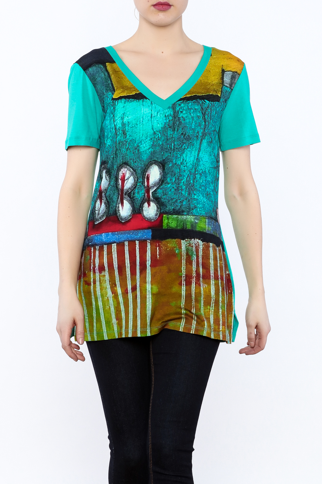 Dolcezza Colorful Tunic Top - Front Cropped Image