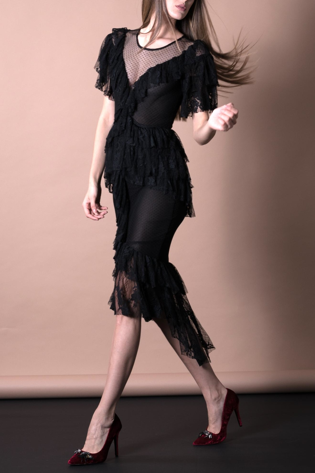 DOLCICIMO Black Lace Dress - Front Full Image
