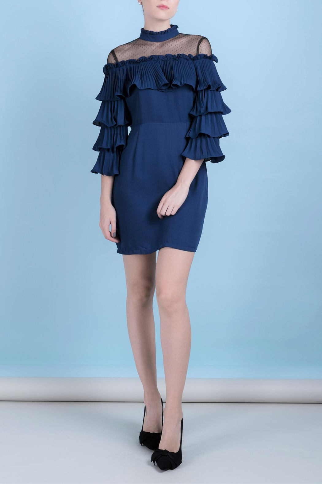 DOLCICIMO Blue Romantic Dress - Front Cropped Image