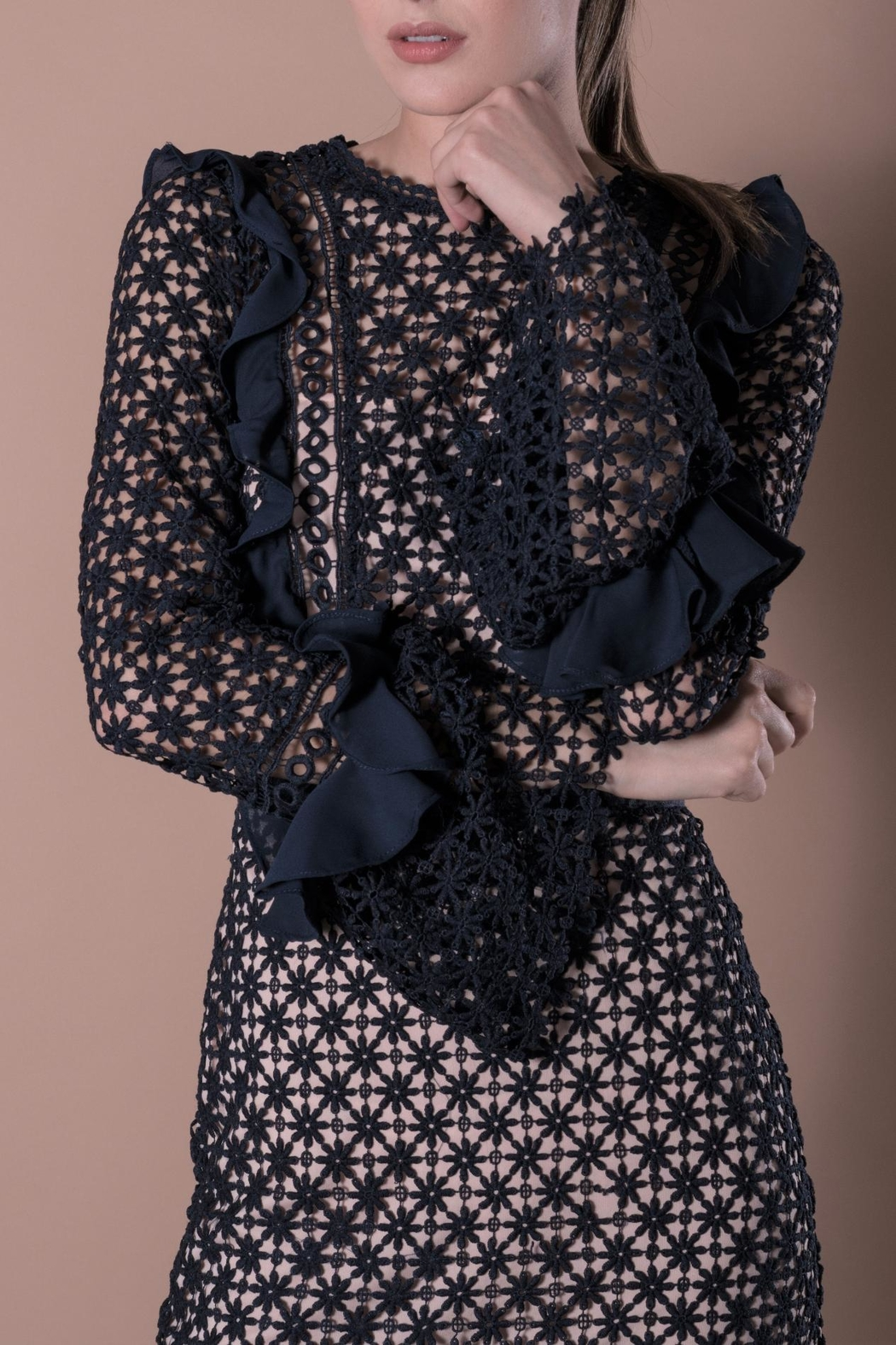 DOLCICIMO Blue Lace Dress - Side Cropped Image