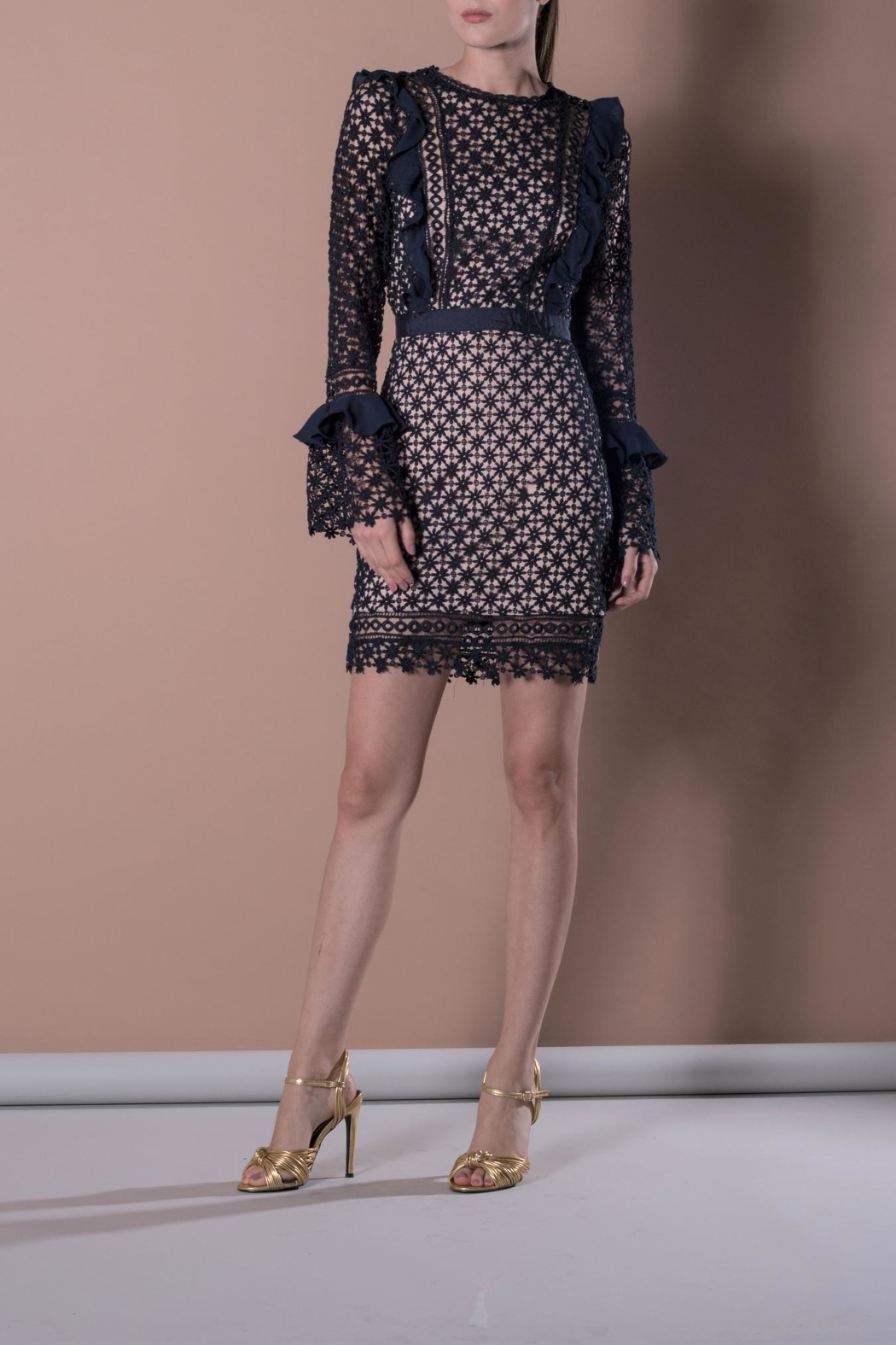 DOLCICIMO Blue Lace Dress - Front Full Image