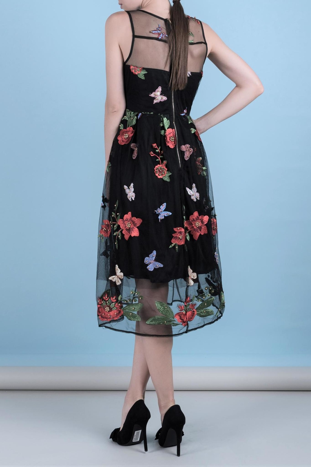 DOLCICIMO Embroidered Organza Dress - Front Full Image
