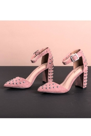 DOLCICIMO Pink Shimmer Heels - Front cropped
