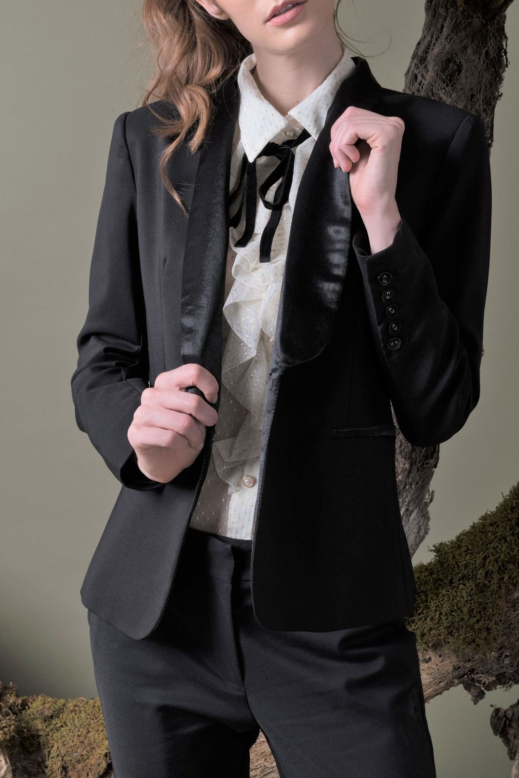 DOLCICIMO Satin Touch Blazer - Side Cropped Image