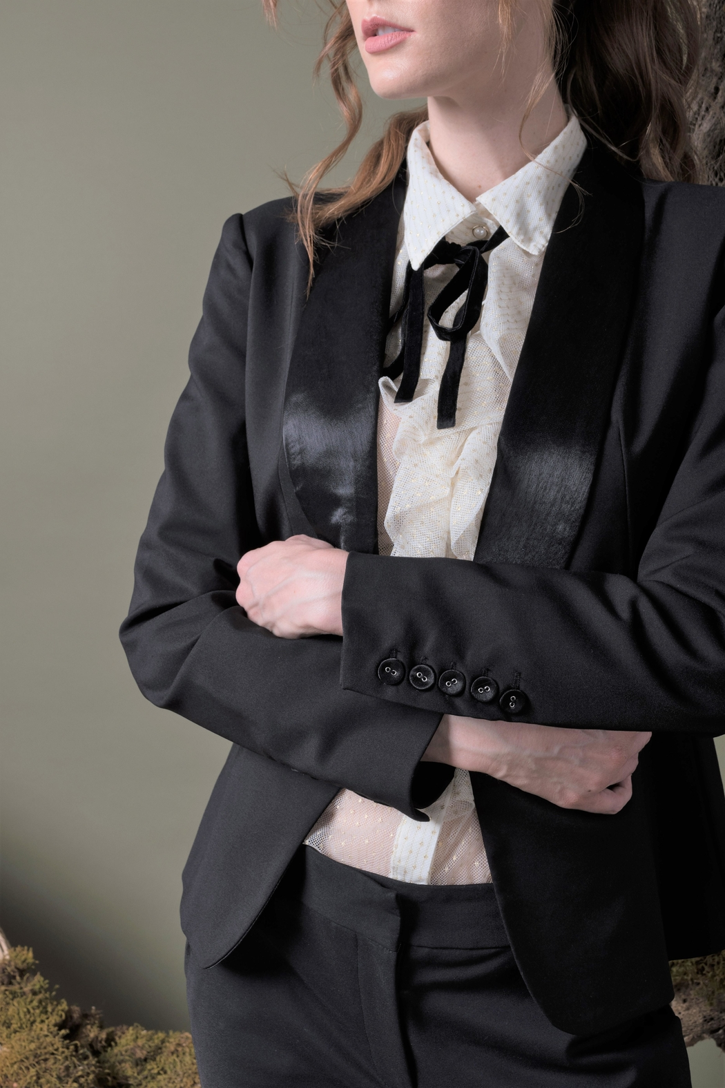 DOLCICIMO Satin Touch Blazer - Back Cropped Image